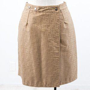 Fendi 6 Reversible Leather FF Logo Print Skirt Tan